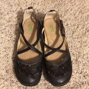 Jambu Black Wildflower Mary Jane Shoes